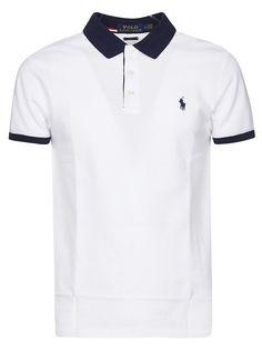 Ralph Lauren Logo Polo Shirt In White/navy Polo Shirt Logo, Mens Polo T Shirts, New T Shirt Design, Shirt Designs, Cheap Ralph Lauren Polo, Polo Lauren, Ralph Lauren Logo, Polo Shirt Outfits, Le Polo