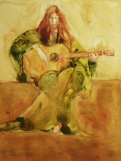 "Saatchi Online Artist: Maurice Sapiro; Watercolor, 2009, Painting ""The Guitar Recital"""