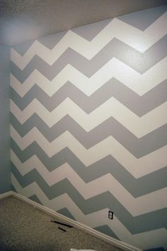 gray & white chevron wall - baby's room and accent with baby blue or soft petal pink depending on sex