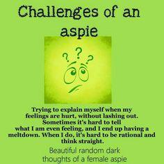 autism aspergers women aspie female traits  https://www.facebook.com/Beautifulrandomdarkthoughtsof3autisticfemales/photos/a.1132180273467723.1073741859.906695276016225/1132175883468162/?type=3&theater