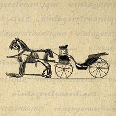 Digital Printable Horse Carriage Download by VintageRetroAntique