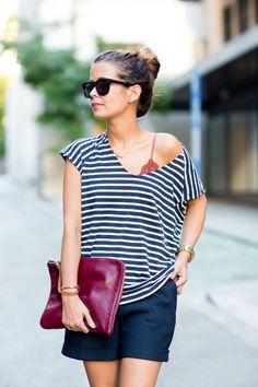 Dark Blue short and stripes shirt