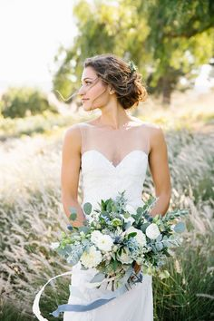 Gabby's cream and dusty grey blue bouquet. Rustic modern barn wedding at Greengate Ranch in SLO