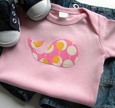 Size 0-3 months - Pink Whale Bodysuit - Applique - Newborn Baby Girl Clothes. $10.00, via Etsy.