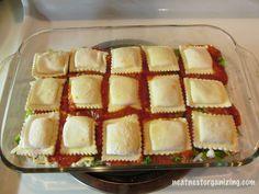 Super Easy make ahead Ravioli Lasagna! Layer frozen ravioli, sauce ...