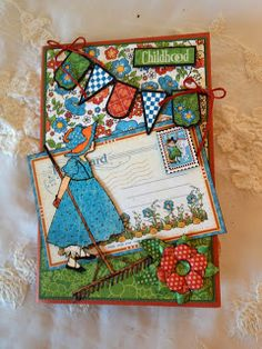 annes papercreations: Graphic 45 Mother Goose mini album inside the tractor -And 3 fold Card