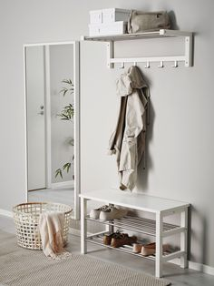 IKEA - TJUSIG, Bench with shoe storage, white, Holds min. 6 pairs of shoes. Combines with other products in the TJUSIG series. Decor, Affordable Furniture, Bench With Shoe Storage, Home, Hallway Storage, Ikea, Ikea Hallway, Bench With Storage, Hallway Organization