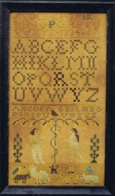 Very-Rare-THE-GOODE-HUSWIFE-Adam-Eve-Cross-Stitch-Sampler-Chart-OOP-HTF