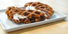 S'mores Waffles With Graham Cracker Dough -- Molly McButter is perfect when all you want is the taste of butter with less calories and no cholesterol - mollymcbutter.com #sweet #breakfast #yum