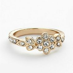 #LCLaurenConrad Gold Tone Simulated Crystal Flower Ring