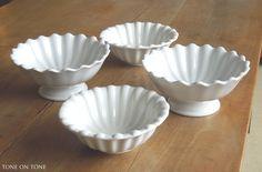 Tone on Tone - Interior & Garden Design: Ironstone: Harmony in White White Dishes, Interior Garden, Pie Dish, Garden Design, Fruit Bowls, Miniature, Pairs, Green