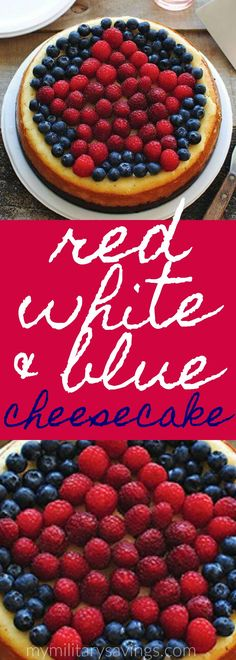 ad Patriotic Desserts - Red White and Blue Cheesecake recipe! Perfect for any get together, party, or potluck! Add this to your dessert recipes board! (Make serving easy with Chinet plates, too!)