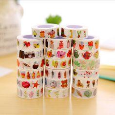 DIY 10M Cute Kawaii Cartoon Animal Washi Tape Lovely Flower Decorative Tape For Scrapbooking Diary Free Shipping 799