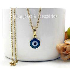 Colar Folheado Ouro 18k com Pingente Olho Grego Azul - Drika Jóias & Acessórios
