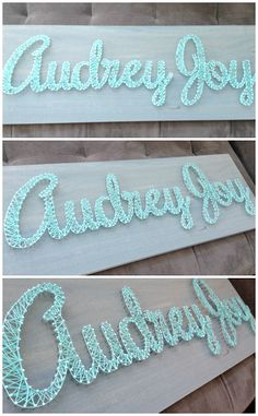 DIY nursery art - name sign using nails wrapped with yarn or thread. I know how to do string art! Diy Nursery Decor, Nursery Art, Nursery Ideas, Baby Nursery Diy, Crafts To Do, Yarn Crafts, Ideas Decoracion Cumpleaños, Carton Diy, Ideias Diy