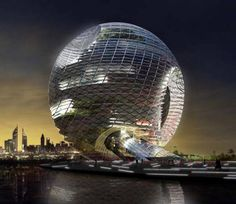 This magnificent structure is called the Edifice Sphere. The concept Spherical skyscraper by EQUIP Xavier Claramunt, is a hundred stories tall structure, but instead of being a tower, it is actually a sphere within a sphere. http://wordlesstech.com/2011/06/12/edifice-sphere-skyscraper/