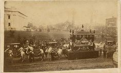 Historic photo of Abraham Lincoln's actual funeral procession [The Abraham Lincoln Blog: Columbus Ohio Bids Lincoln Farewell].