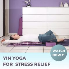 Yin Yoga for Stress & Anxiety Relief; Those 4 Yin Yoga Poses will help you to release tension, stress & anxiety. Suitable beginners, since it's a very gentle, restorative yoga sequence👉Watch the full video here! Restorative Yoga Sequence, Yin Yoga Poses, Yoga Flow Sequence, Basic Yoga Poses, Yoga Sequences, Yoga Videos For Beginners, Free Yoga Videos, Meditation For Beginners, Gentle Yoga Flow