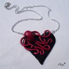 Fimo Necklace with octopuss / Náhrdelník Srdce s červenou chobotničkou