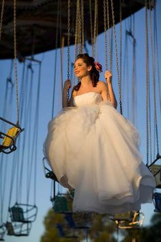 Couture Funfair - Carnival  wedding. Rainbow - Rockabilly Wedding. Swing Ride