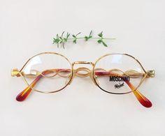 Moschino Persol Eyeglasses / NOS deadstock designer frames / Vintage rounded oval lenses frames / Italian gold glasses / women's 90s eyewear by Skomoroki on Etsy