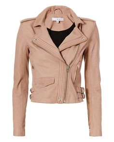 IRO EXCLUSIVE Hana Moto Leather Jacket: Blush: The leather jacket is the powerhouse piece as it amps up your look. Collar with snap button-- looks fabulous when worn unzipped as it reveals quilted detailing at the placket. Off center zipper closure. 6 zips at cuffs. Two zip pockets. Two buckled tab ...