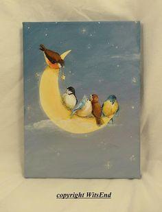 Moon birds painting original ooak fantasy art chickadee wren blue birds Fly Me To The Moon.  by WitsEnd via Etsy