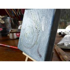 Mini painting on canvas, blue grey abstract art, original art,... ($20) ❤ liked on Polyvore featuring home, home decor, wall art, mini easel, mini painting, canvas wall art, miniature painting and canvas painting