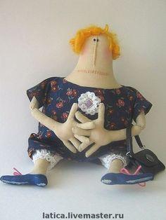 Мадам Брошкина - кукла,примитивная кукла,синий,хб ткань,американский хлопок