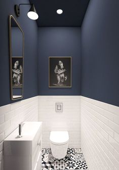 Amazing DIY Bathroom Ideas, Bathroom Decor, Bathroom Remodel and Bathroom Projects to simply help inspire your master bathroomsbathrooms dreams and goals. Trendy Bathroom, Amazing Bathrooms, Bathroom Colors, Painting Bathroom, Small Remodel, Bathroom Flooring, Blue Wall Colors, Bathroom Design, Small Bathroom Remodel