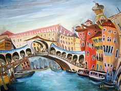 _Ponte di Rialto by Lucia Chocholackova - Venezia Painting Art Gallery, Visual, Photo, Beautiful Views, Visual Art, Art, My Arts, Nicolas, Online Art Gallery
