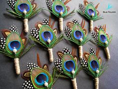 10 Wedding boutonniere twine peacock boutiners peacock featheres groomsmen mens accessories groom lapel pin pheasant feathers rustic wedding on Etsy, $130.00 Wedding inspiration and ideas here: www.weddingideastips.com