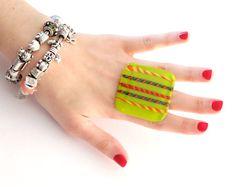 Big Statement Ring Handmade Glass oversize bold by StudioLeanne
