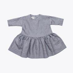 Linen pocket dress - Grey 3y-8y