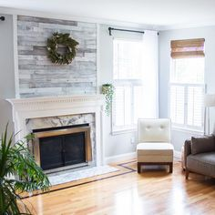 Plank and Mill Reclaimed Barn Wood Wall Panels — Simple Peel and Stick Planks for Accent Walls, Kitchens, and Other Projects — 10 Square Feet of Wide: Whitewashed Barn Wood Pallet Fireplace, Fireplace Accent Walls, White Wash Fireplace, Fireplace Redo, Accent Walls In Living Room, Shiplap Fireplace, Fireplace Remodel, Fireplace Design, Fireplace Surrounds