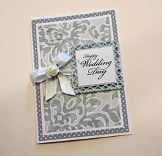 handmade wedding card by CardsbyGayelynn on Etsy ... luv the grays on the embossing folder texture ...