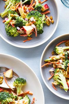 This broccoli salad has plenty of crunch thanks to fresh, raw greens and crisp apples, but the sauce is creamy enough to satisfy classic . Apple Salad Recipes, Veggie Recipes, New Recipes, Dinner Recipes, Favorite Recipes, Healthy Recipes, Healthy Salads, Vegetarian Recipes, Healthy Food