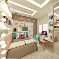 Teen bedroom themes must accommodate visual and function. Here are tips to create the coolest teen bedroom. Cute Room Decor, Teen Room Decor, Room Ideas Bedroom, Small Room Bedroom, Bedroom Themes, Bedroom Decor, Teen Bedroom, Girl Bedrooms, Small Rooms