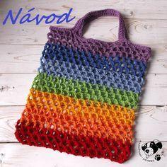 Síťovka duhová - návod na háčkování Knit Crochet, Crochet Patterns, Knitting, Handmade, Diy, Bags, Design, Women, Macrame