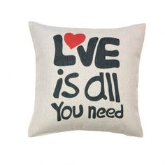 It's True! Love is all you need! This is a neutral colored pillow decorated with red and black print from BDK's Gifts and Décor. This will create a warm and inviting feel to your home. #scottsmarketplace