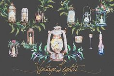 Watercolor Vintage Lights Clipart by ArtCreationsDesign on @creativemarket