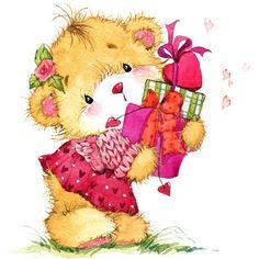 Cute Teddy Bear Pics, Teddy Bear Pictures, Cute Bears, Bear Watercolor, Watercolor Illustration, Teddy Bear Drawing, Birthday Card Drawing, Disney Cartoon Characters, Blue Nose Friends