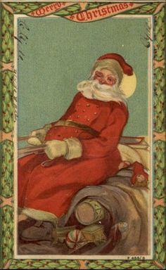 Santa Claus on Sleigh Close-Up c1910 Postcard ROTOGRAPH