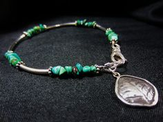 Turquoise & Sterling Silver Bracelet with Leaf Charm