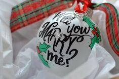 How unique!  Love it!  Will You Marry Me Engagement Proposal Ornament by LissaLouDesigns, $22.00