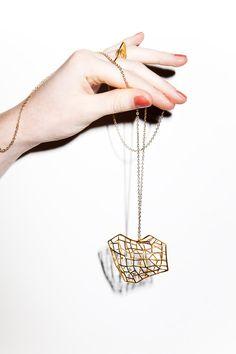 Tre-dimensional new brass necklace.Bernadette Van de Bracht - Dutch design and nepalese artisan    www.scicche.it