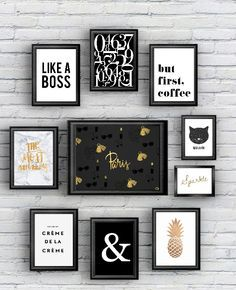 FREE printable - 10 posters black and gold - would look great in Katie's room