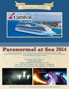Paranormal at Sea 2014 Sailing on the Carnival Conquest December 7, 2014