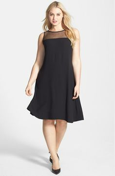 Eileen Fisher Sleeveless Lace Yoke Silk Shift Dress (Plus Size) | Nordstrom