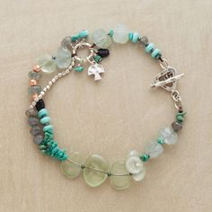 """SAVASANA BRACELET--Cool and calming, our partly doubled bracelet combines turquoise, prehnite, labradorite, moss aquamarine and green tourmaline with silver beads. Sterling toggle clasp. Exclusive. Natural stones will vary in size and color. Approx. 7-1/2""""L."""